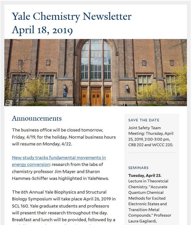 Chemistry Newsletter | Yale Department of Chemistry