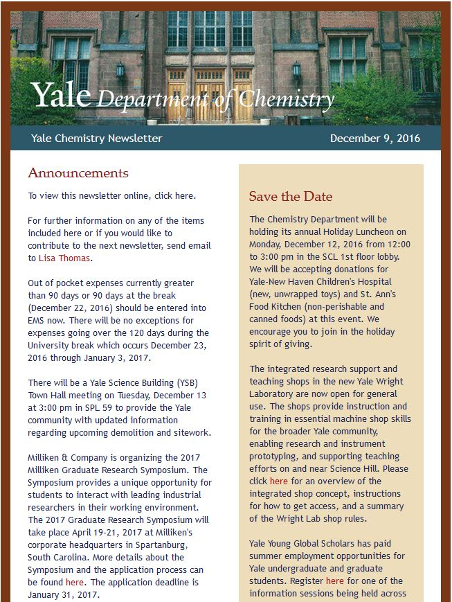 Chemistry Newsletter Yale Department Of Chemistry