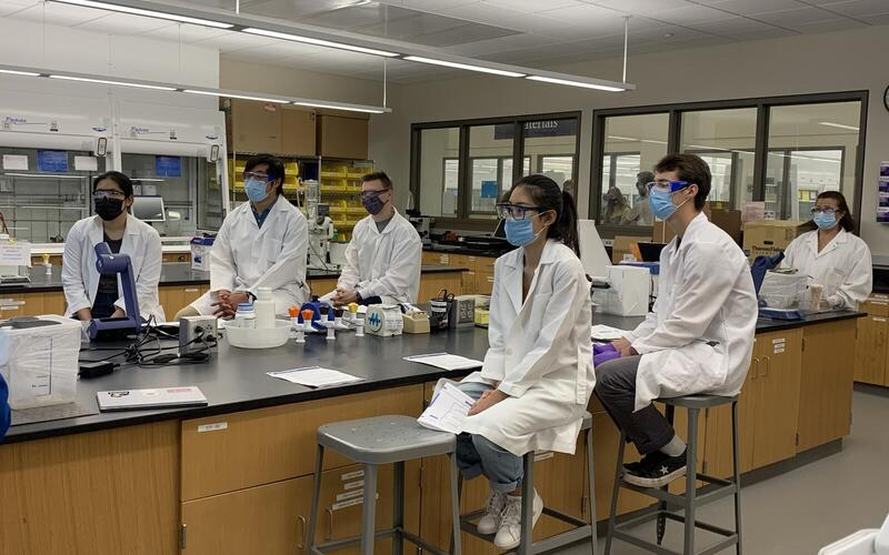 First-Year Grad Students at the Bench and Hood Maintenance Station